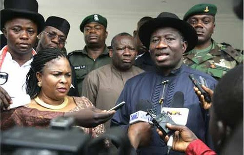 Federal Republic of Nigeria Interim President Goodluck Jonathan addresses the media in the aftermath of the announcement that the national elections would be delayed by two days. Technical and logistical problems were cited. by Pan-African News Wire File Photos