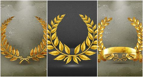Set of golden wreaths vector   Free download