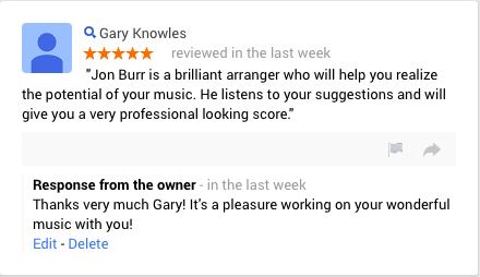 Customer Review - Piano and Vocal arrangements | Arranger For Hire