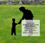 Firefighter greeting child Yard Art Woodworking Pattern - fee plans from WoodworkersWorkshop® Online Store - firefighting,firefighters,shadow art,yard art,yard art,painting wood crafts,scrollsawing patterns,drawings,plywood,plywoodworking plans,woodworkers projects,workshop blueprints