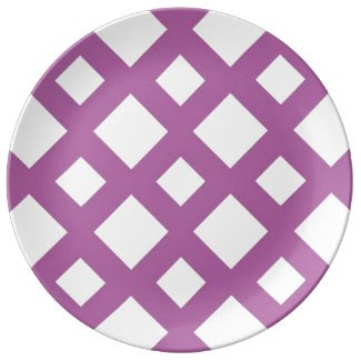 White Diamonds on Lavender Porcelain Plate