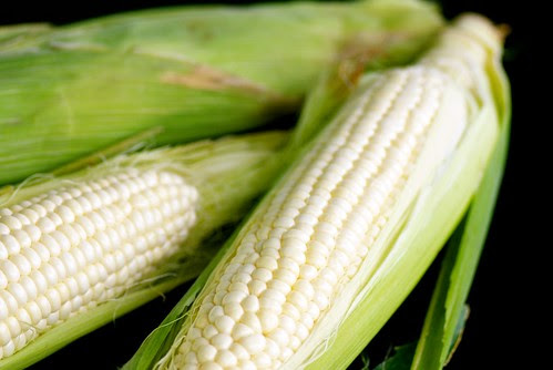 white sweet corn from Little Italy farmers market in San Diego