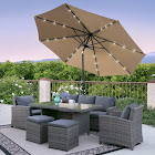 Best Choice Products Solar LED Lighted Patio Umbrella, Tan