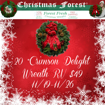 ChristmasForest.com 20 Inch Crimson Delight Wreath Giveaway. Ends 11/26