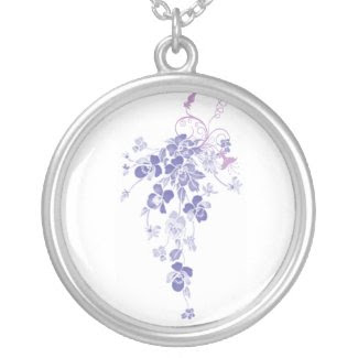 Pansies Cascading Bouquet Round Pendant Necklace necklace