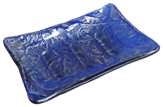 Elegant Fused Glass Soap Dish, Cobalt Blue & Silver - Contemporary - Soap Dishes & Holders - by BPR Designs