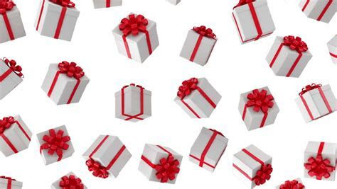 Red Gifts On White Background. Holiday 3d Animation Stock