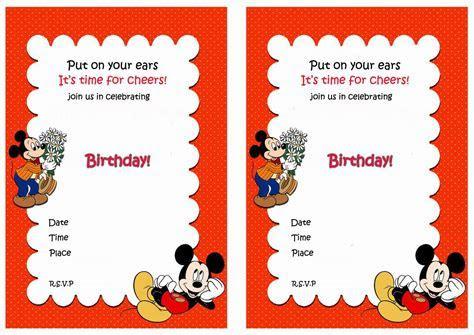 Mickey Mouse Blank Invitations