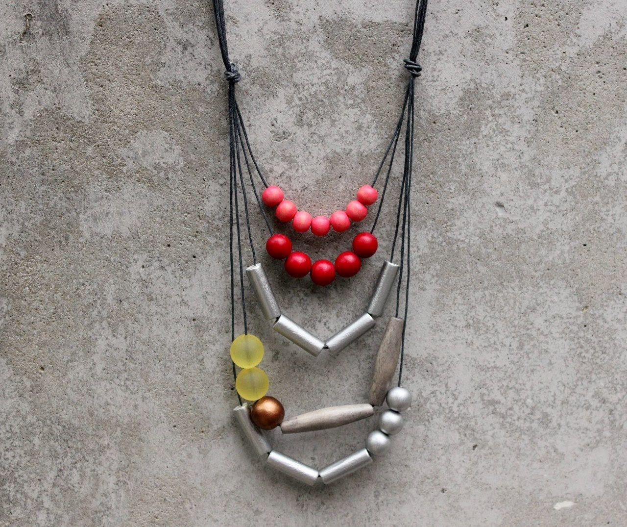 Contemporary geometric necklace, statement, red, light red, silver, yellow, bronze, wooden bead, boho, free shipping. - LeafFeather