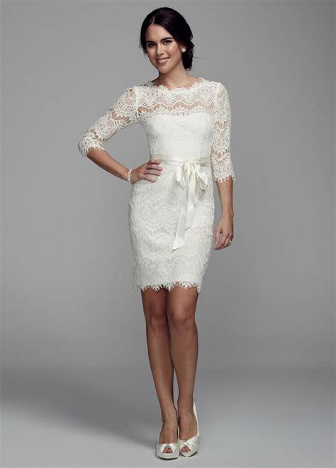 David's Bridal Short Lace Wedding Dress with 3/4 Sleeves