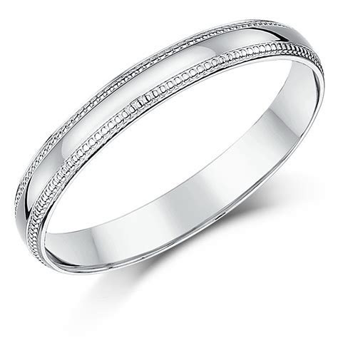 3mm Palladium Milgrain Edge Wedding Ring Band   Palladium