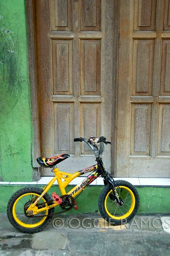 Indonesia - Solo Yellow Bike Green Walls