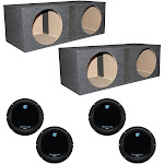 "Planet Audio 12"" 1800W Subwoofers (4 Pack) & Dual 12"" Vented Sub Boxes (2 Pack)"