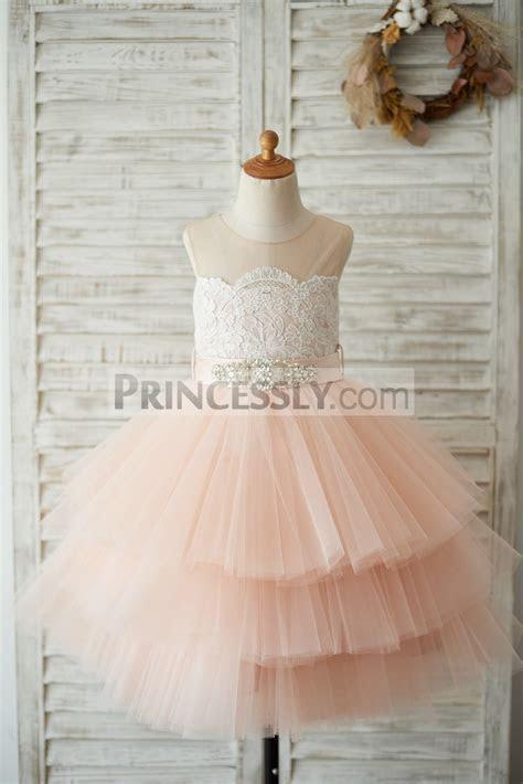 Sheer Neck Peach Pink Tulle Lace Cupcake Skirt Wedding