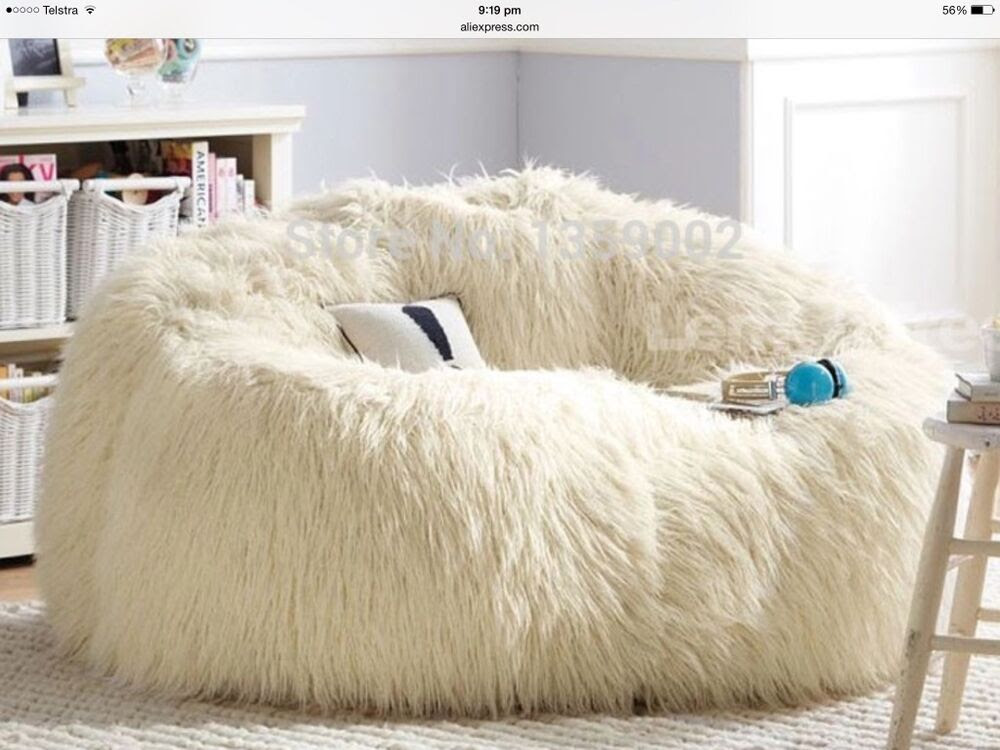 LARGE WHITE FAUX FUR BEANBAG COVER GAMING CHAIR PARENTS ...