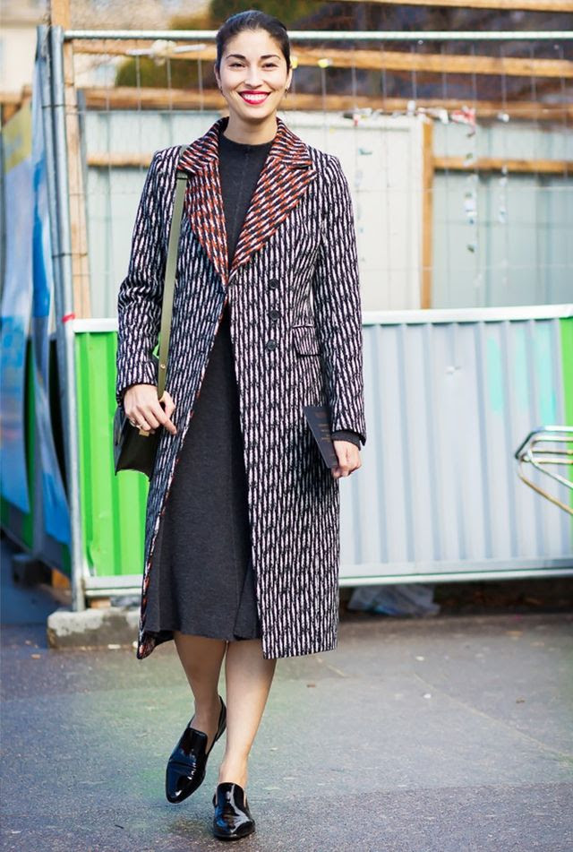 When you're tired of wearing heels, opt for a pair of patent loafers. Pair them with a knit midi dress and tailored coat for extra polish.