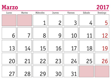 March Month In A Year 2017 Wall Calendar In Spanish. Marzo 2017 ...