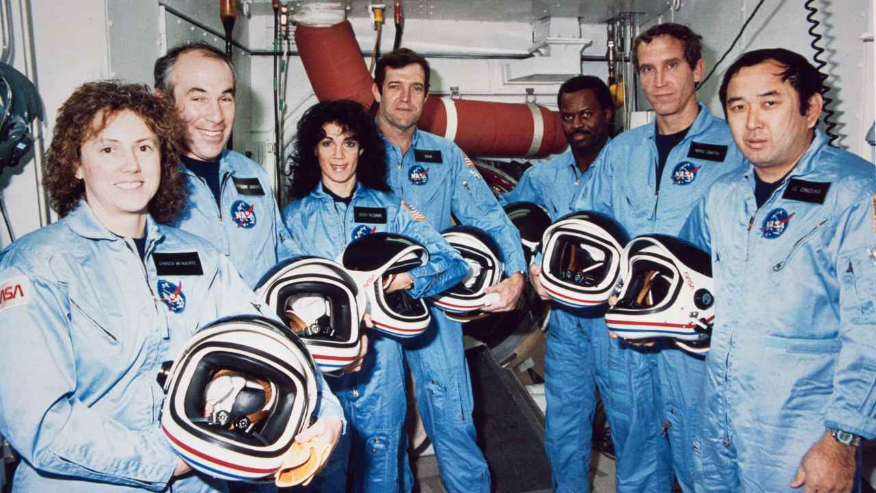NASA lost seven of its own on the morning of Jan. 28, 1986, when a booster engine failed, causing the Shuttle Challenger to break apart just 73 seconds after launch. In this photo from Jan. 9, 1986, the Challenger crew takes a break during countdown training at NASA's Kennedy Space Center. From left to right are Teacher-in-Space Christa McAuliffe and astronauts Gregory Jarvis, Judith Resnik, Mission Commander Dick Scobee, astronaut Ronald McNair, pilot Mike Smith, and astronaut Ellison Onizuka. Image Credit: NASA