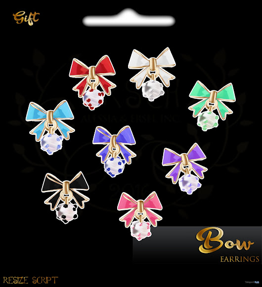 Bow Earrings July 2018 Group Gift by ERSCH | Teleport Hub - Second Life Freebies