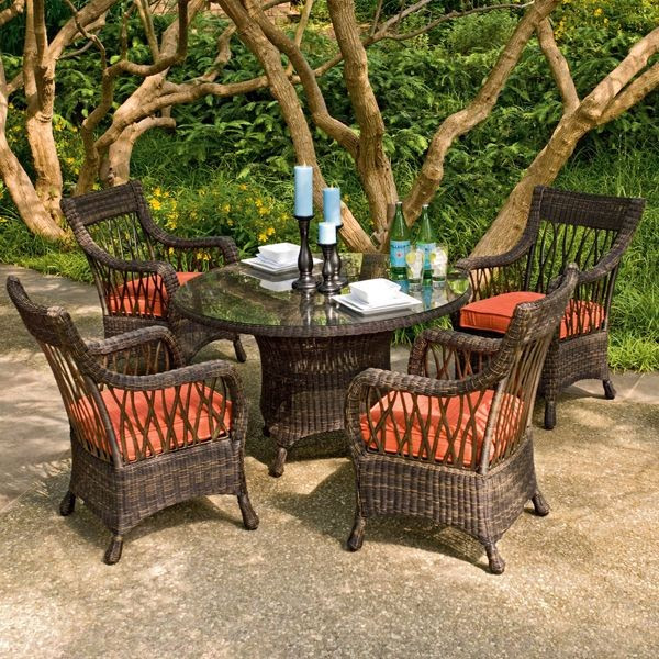 Wicker Outdoor Dining Table and Chair Set - - outdoor tables ...