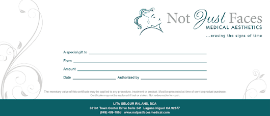 Gift Certificate - Not Just Faces Medical Aesthetics