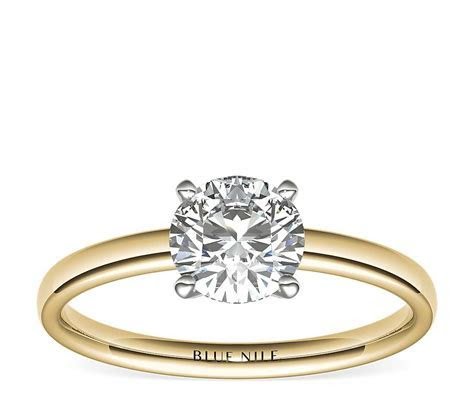 Low Dome Comfort Fit Solitaire Engagement Ring in 18k