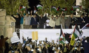 Freed Palestinian prisoners are greeted by officials and crowds in Ramallah Freed Palestinian prisoners are greeted by officials and crowds in Ramallah. Photograph: Oren Ziv/Getty