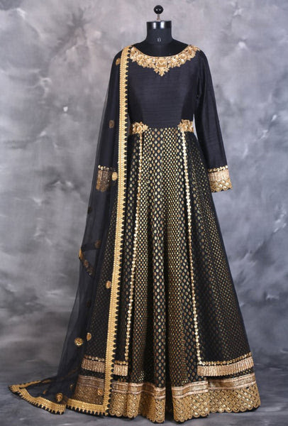 Black designer indian dress with dupatta