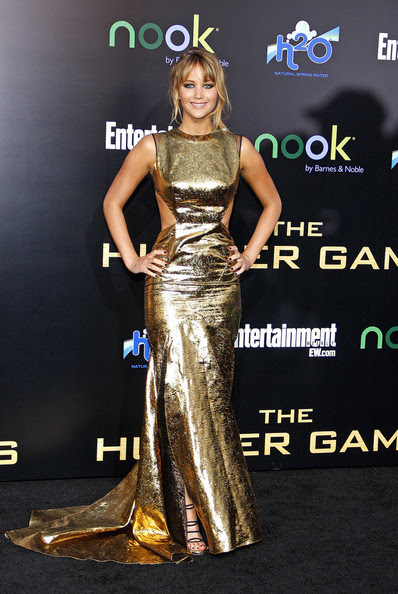 """Jennifer Lawrence at the Los Angeles premiere of """"The Hunger Games"""" held at the Nokia Theatre L.A. Live, Los Angeles."""