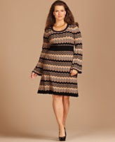 INC International Concepts Plus Size Dress, Long Sleeve Printed Empire