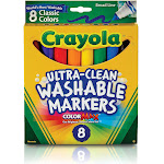 Crayola Washable Markers, Conical Tip, Assorted Classic Colors - 8 count