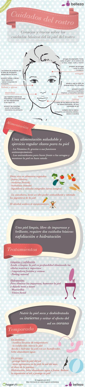 Infografía sobre los cuidados de la piel del rostro #infografia #belleza