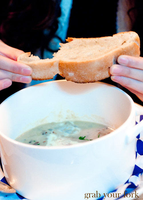 lowenbrau mushroom soup and garlic bread