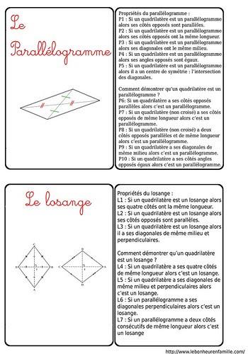 bbbbbbbbbbbbbbCartes formes géonmétriques, le parralélogramme, le losange