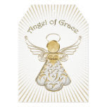 Personalize: Christmas Angel of Grace Light Rays 5x7 Paper Invitation Card