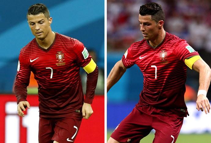 Cristiano Ronaldo troca de camisa EUA x Portugal (Foto: Editoria de Arte)