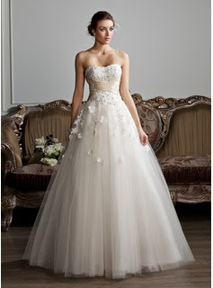 Ball-Gown Sweetheart Floor-Length Tulle Charmeuse Wedding Dress With Ruffle Sashes Beadwork Appliques Flower(s)