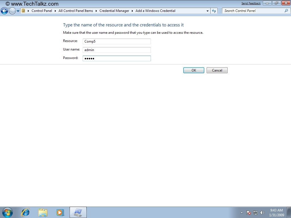 Guide - Credential Manager in Windows 7 | TechTalkz.com ...