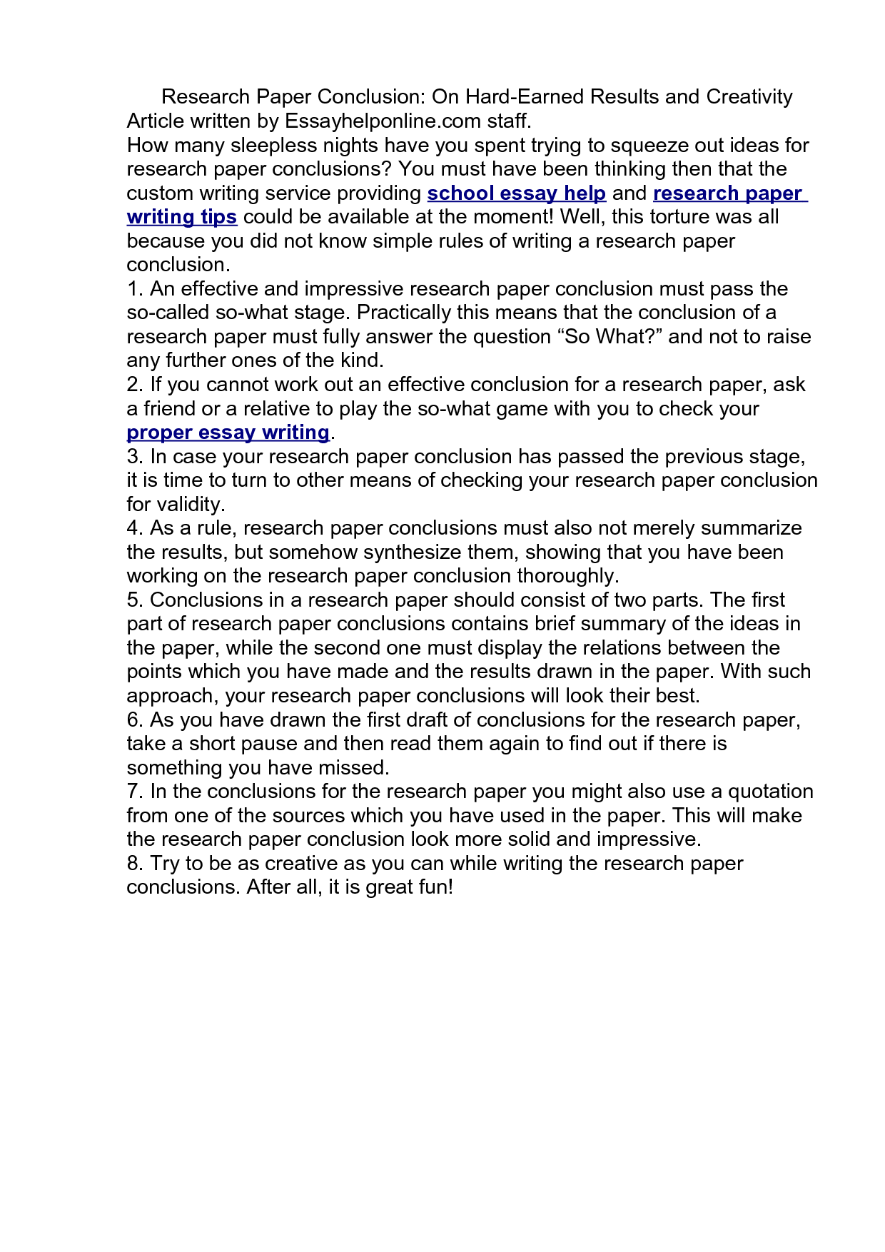 how to write a research paper conclusion paragraph