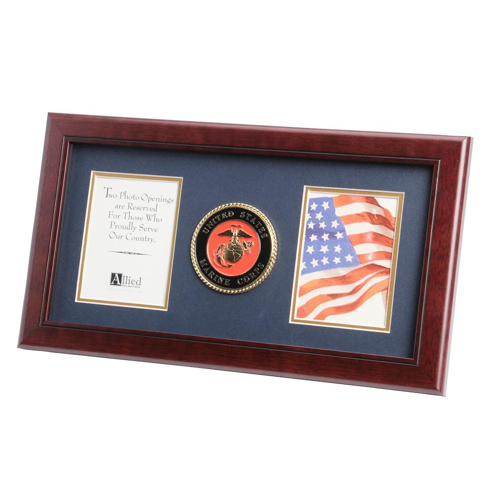 Us Marine Corps Medallion 4 Inch By 6 Inch Double Picture Frame