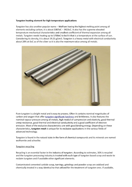 Tungsten heating element for high temperature applications