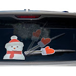 Rear Vehicle Car Window Animated Moving Wiper Blade Tag Decal Sticker & Hand - Christmas Holiday - Christmas Snowman