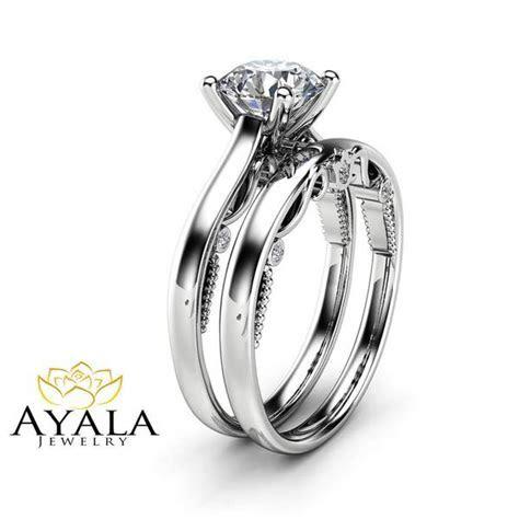 1 Carat Moissanite Bridal Set 14K White Gold Engagement