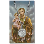 24in Saint Joseph Pewter Medal Necklace on Holy Card