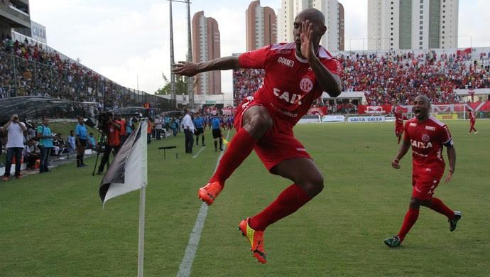 Flávio Boaventura América-RN comemora gol título (Foto: Fabiano Oliveira)