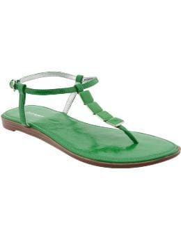 Women: Women's Embellished T-Strap Sandals - Green Light