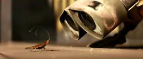 WALL-E bonds with his cockroach buddy.