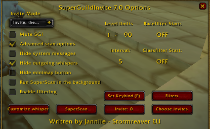 Master of World of Warcraft : setting Super Guild Invite ...