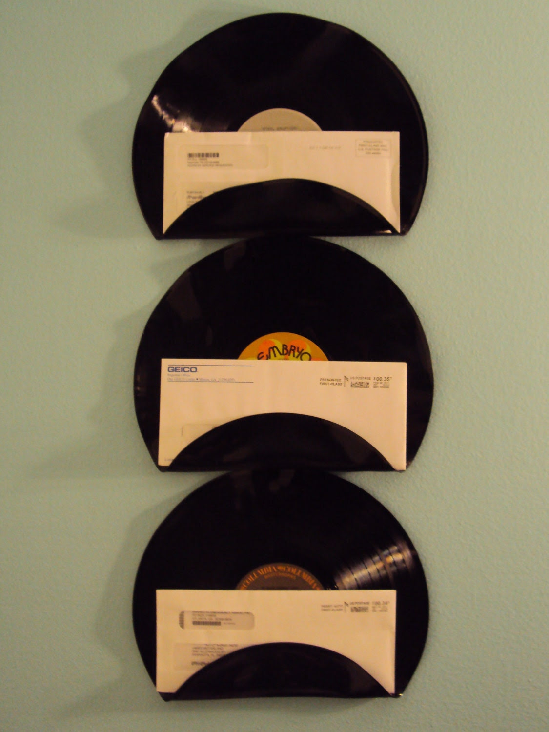 Music Lover Repurposed Upcycled Vinyl Record Mail Holders Set of 3