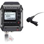 Zoom F1-LP 2-Input / 2-Track Portable Digital Handy Multitrack Field Recorder + Lavalier Microphone